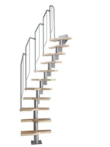 DOLLE Raumspartreppe mit Buche Holz-Stufen (Multiplex), Geschosshöhe 222-276 cm, variabler Treppenlauf, einfache Montage, den individuellen Raumverhältnissen anpassbar: Gerade bis 1/4 gewendelt
