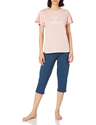 Schiesser Damen Schlafanzug Set 3/4 lange Capri Hose mit passendem kurzen Shirt, rosa, 40