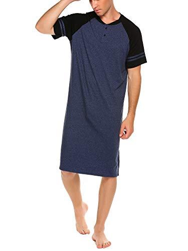 Meaneor Nachthemd Herren Sommer Nachthemd Einteiliger Schlafanzug Schlafshirt für Männer Nachtwäsche Schlafkleid Kurzarm Baumwolle Nachthemden Sleepshirt Navy Blau 3XL