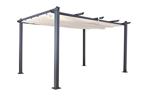 Jet-line Pavillon Pergola Überdachung 'Luxor 4 x 3 m anthrazit-beige UV Beschattung Terrasse Garten Sonnenschutz Sonnendach Aluminium