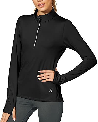 icyzone Damen Sport Langarm T-Shirts Training Fitness Kleidung 1/4 Reißverschluss Laufshirt mit Daumenloch (M, Black)