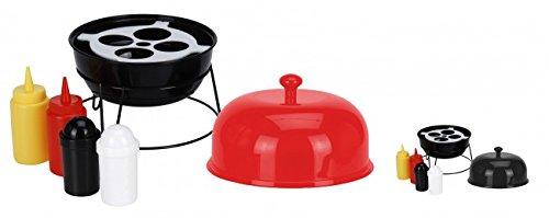 6-tlg. Grill Menage SET - Senf & Ketchup Ständer und Salzstreuer & Pfefferstreuer - Farbe wählbar - Grillzubehör - Salz Pfeffer Streuer - Grillparty, Farbe:Rot