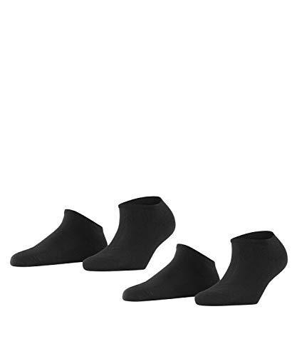 ESPRIT Damen Sneakersocken Uni 2-Pack, Baumwolle, 2er Pack, Schwarz (Black 3000), 39-42 (UK 5.5-8 Ι US 8-10.5)