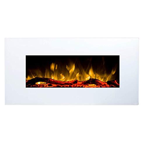 GLOW FIRE Elektrokamin mit Heizung, Wandkamin mit LED | Künstliches Feuer mit zuschaltbarem Heizlüfter: 750/1500 W | Fernbedienung (Größe S - 84 cm, Weiß)