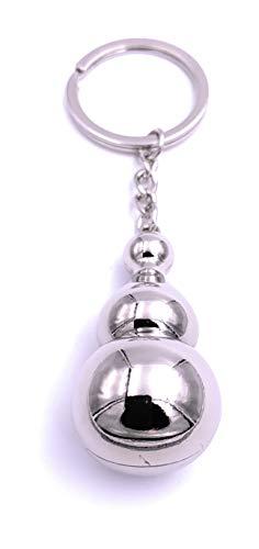 Onwomania Turm Kugel Bowling Pin Schlüsselanhänger Keychain Silber aus Metall