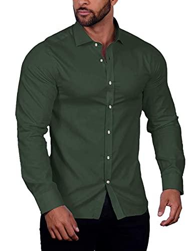 COOFANDY Herren Muscle Fit Hemden Faltenfreies Langarm Lässiges Hemd mit Knöpfen, Olivgrün, L