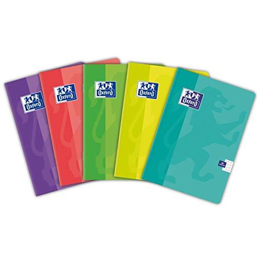 Oxford Schulheft A6 /Notizheft A6, 48 Blätter, kariert, 5 Stück-Packung, Farbenmix, minze, rosa, violett, limette, blau