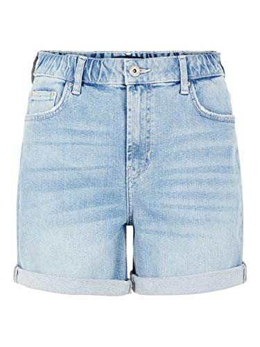 PIECES Damen PCLEAH MOM HW Elastic WB LB110 BC Jeans-Shorts, Light Blue Denim, M