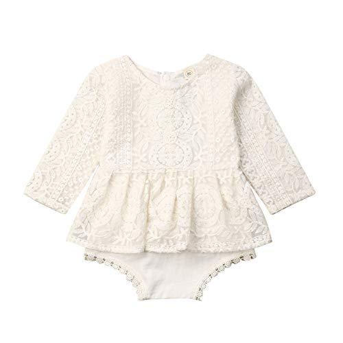 Carolilly Strampler Baby Mädchen Outfits Neugeborene Pyjama Onesie Baby Bekleidungsset Mädchen Jumpsuit Einteilig Schlafanzug (Weiß F, 0-6 Monate, 70)