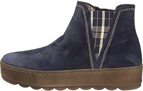 Gabor Damen Chelsea Boots 36.560, Frauen Stiefelette,Stiefel,Halbstiefel,Bootie,Schlupfstiefel,flach,Marine(GZKaro/Mel),40 EU / 6.5 UK
