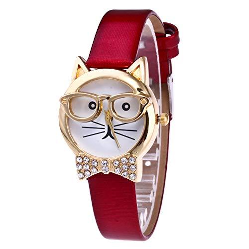SANWOOD Mode Schöne Katze Brille Kunstleder Band Analog Quarz Armbanduhr, Luxus Strass Bowknot Gold Rand Armbanduhr Für Frauen Mädchen rot
