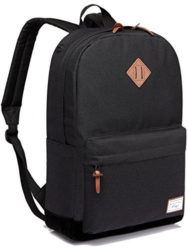 Schulrucksack, Kasgo Classic Schultasche Jungen mit Gepolstertem 15.6 Zoll Laptopfach Rucksack Jugendliche Schwarz MEHRWEG