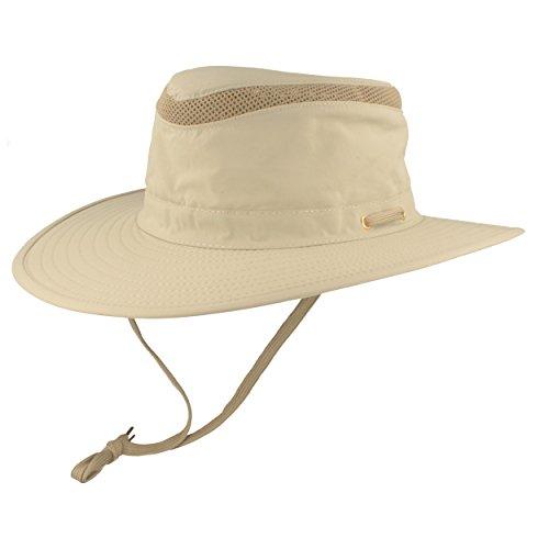 Hut Breiter Safarihut   Buschhut   Sonnenhut – mit UV Schutz 30+ - Atmungsaktiv, leicht & faltbar, mit verstellbarem Kinnband & geheimer Tasche