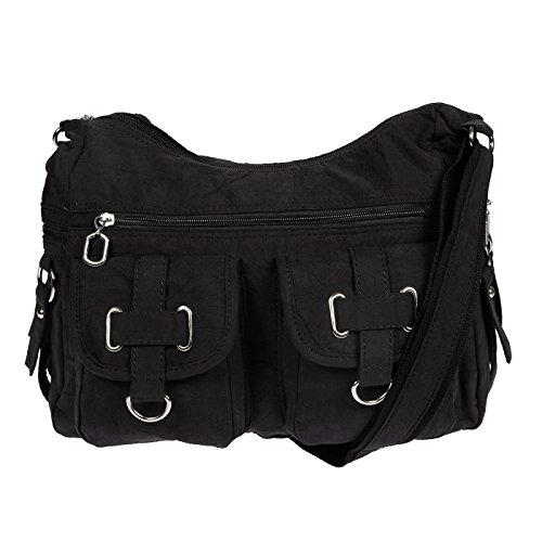 Christian Wippermann Damenhandtasche Schultertasche aus Canvas Schwarz