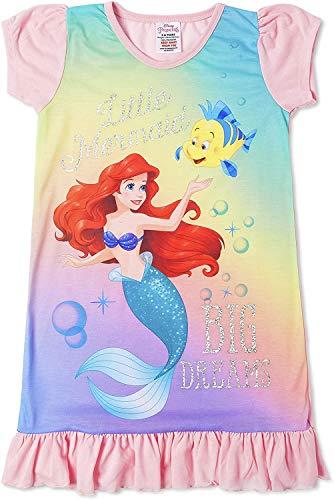 Disney Mädchen Nachthemd Kindernachtwäsche (7/8 Jahre, Arielle Meerjungfrau)