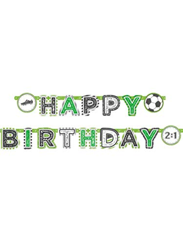 Amscan 9903023 - Partykette Happy Birthday Kicker Party, Größe 200 x 15 cm, Fußball, Kindergeburtstag