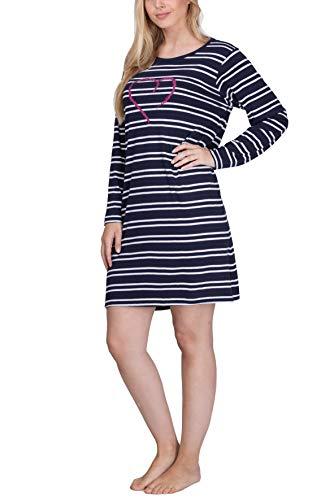Moonline Damen Nachthemd kurz Sleepshirt aus 100% Baumwolle von Größe S - 4XL, Farbe:Navy, Größe:56-58