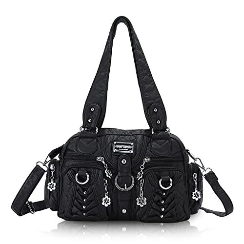Angel Barcelo Damenmode Handtaschen, Geldbörse, Umhängetaschen, Einkaufstaschen Damen, Mädchen Designer Umhängetaschen Schwarz