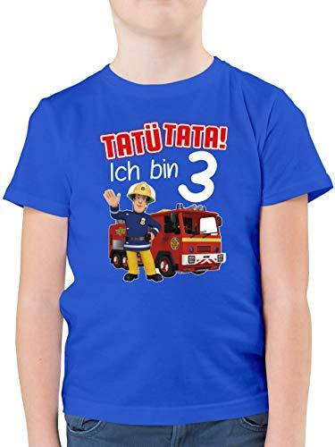 Feuerwehrmann Sam Jungen - Tatü Tata! Ich Bin 3 - rot - 104 (3/4 Jahre) - Royalblau - t-Shirt 104 Jungen - F130K - Kinder Tshirts und T-Shirt für Jungen