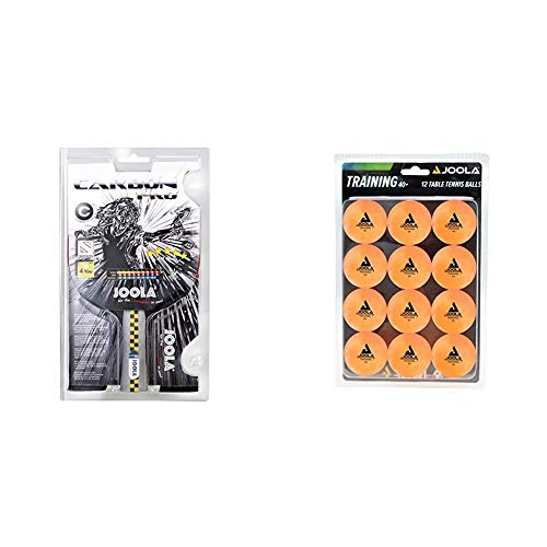 JOOLA Tischtennis-Schläger CARBON PRO & JOOLA Tischtennis-Bälle Training 40mm, Orange 12er Blister Pack
