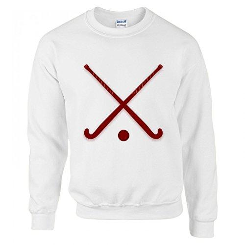 Druckerlebnis24 Pullover - Stöcke- Eishockey- Kugel- Sport- Überschritten- Ausrüstung- Rot- Kastanienbraun - Sweatshirt Für Herren - Damen und Kinder