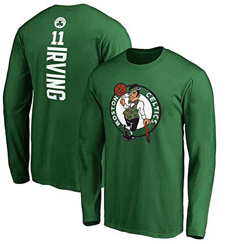 XSSC # 11 Boston Celtics Kyrie Irving Herren Basketball Trikot Langarm Pullover Trainingsbekleidung Bedrucktes T-Shirt Sweatshirt Jacke schwarz 1Uniform Kleidung Green-L