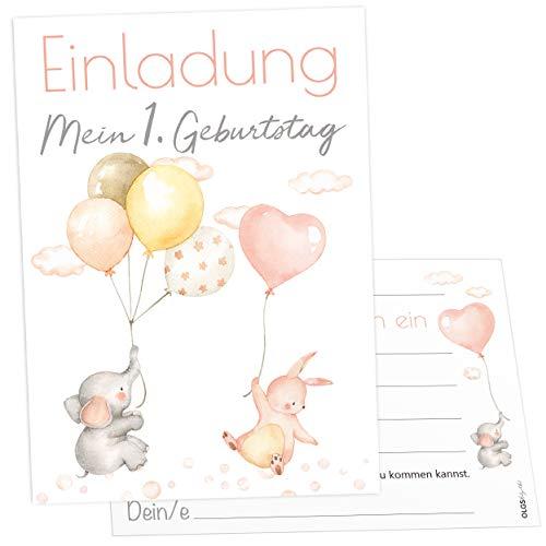 12 Einladungskarten Ballon Party Elefant Hase Kindergeburtstag Kinder Party Geburtstag-Einladungen zum ausfüllen (Mädchen)