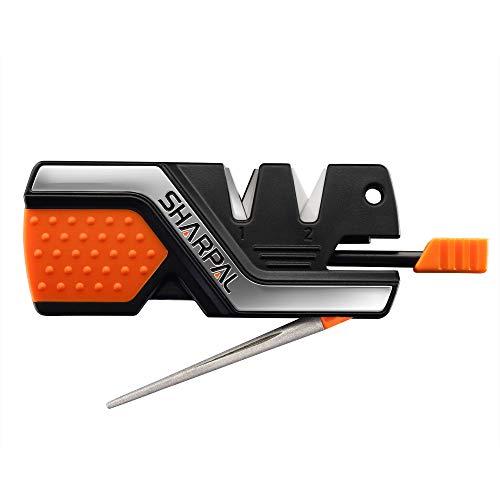 Sharpal 101N 6-in-1 Mehrzweck Messerschärfer & Überlebenswerkzeug, schärfen&polieren alle Outdoor-und Küchenmesser (3 Premium-Schleifmittel, Wolframstahl für Grob, Diamant und Spezialkeramik für Fein)