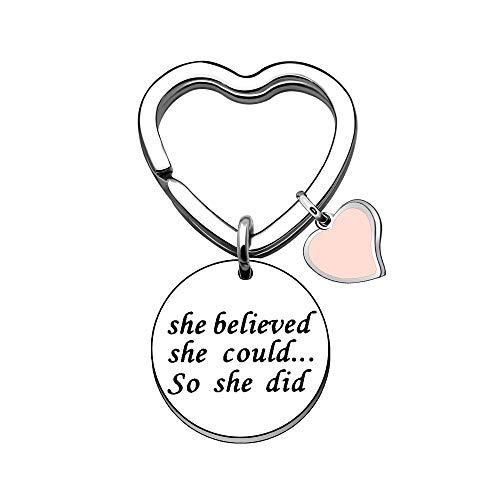 Coagurmes Inspirierende Schlüsselanhänger für Frauen Abschlussgeschenke Herz Schlüsselanhänger - Sie glaubte, sie könnte es tun (2)
