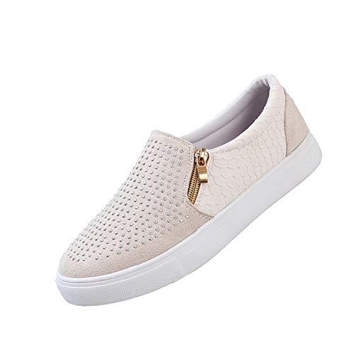 HWTOP Strass Reißverschluss Einzelschuhe Turnschuhe Flache Schuhe für Damen mit Flachen Freizeitschuhe, Weiß, 39 EU
