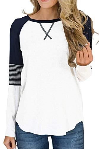QAKEHU Lazzboy Frauen Drucken Rundhals Langarm Casual Bluse Sweatshirt Damen Streifen Langarmshirt Tops Lose Baseball T-Shirt Oberteil Weiß XL