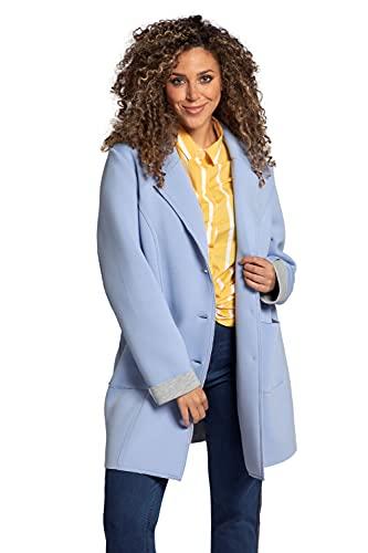 Ulla Popken Damen große Größen Übergrößen Plus Size Mantel, Scuba-Qualität, Revers, innen Schmuckfarbe himmelblau 50+ 781763700-50+