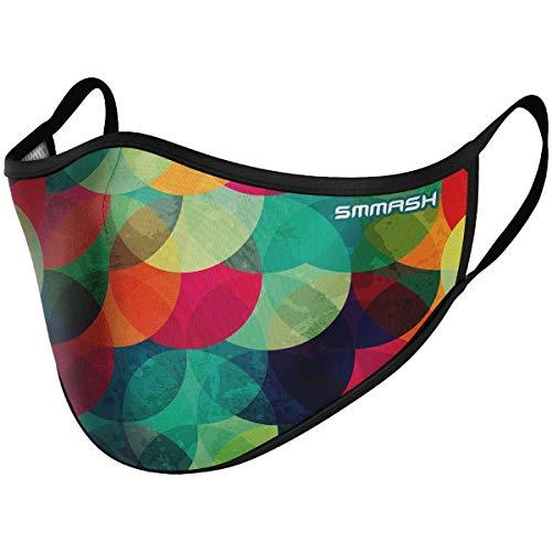 SMMASH Mundschutz Maske Wiederverwendbar, Hochwertiges Gesichtsmaske Waschbar, Multifunktional Trainingsmaske für Radfahren, Laufen, Staubschutzmaske für Damen, Herren (S/M, Bubbles)