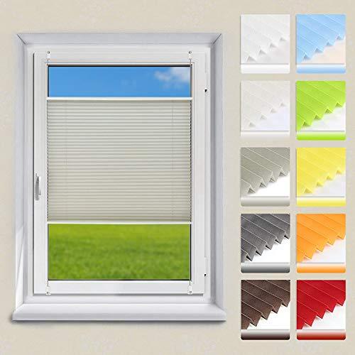 OUBO Plissee ohne Bohren Klemmfix, Grau 80x100cm (BXH), Jalousie Easyfix Faltrollo mit Klemmträger Sonnenschutz und Sichtschutz lichtdurchlässig Rollo für Fenster & Tür