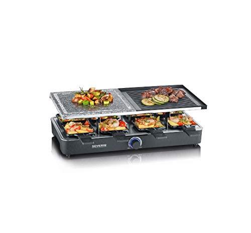 SEVERIN Raclette-Grill mit Naturgrillstein und Grillplatte, Raclette mit antihaftbeschichteter Grillplatte und 8 Pfännchen, Tischgrill für 8 Personen, max. 1300 W, schwarz, RG 2371