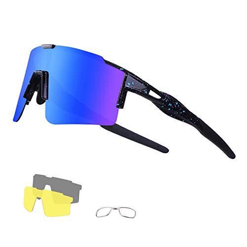 DUDUKING Sportbrille Fahrradbrille Sonnenbrille für Herren und Damen mit 3 Wechselobjektiven TR90 UV406 Schutz Windschutz Radsportbrille für Outdooraktivitäten Autofahren Fischen Laufen Wandern