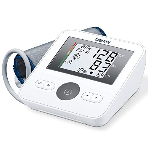 Beurer BM 27 Oberarm-Blutdruckmessgerät mit Manschettensitzkontrolle, für Oberarmumfänge von 22-42 cm, Risikoindikator, Arrhythmie-Erkennung, Meldung bei Anwendungsfehlern
