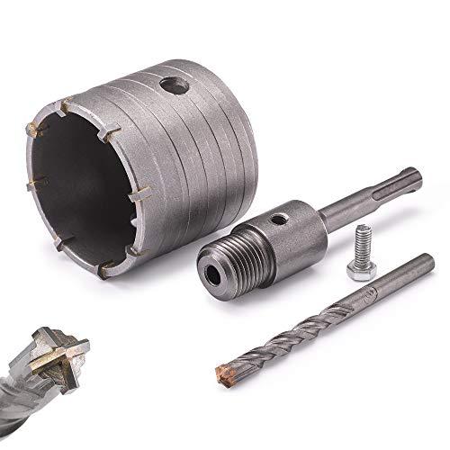 KSP-Tec ® Bohrkrone - verstärkte Bauart - Hammerschlagfest - 4 Schneiden Zentrierbohrer - Dosenbohrer - Bohrkrone Steckdose für Mauerwerk und Beton (68mm)