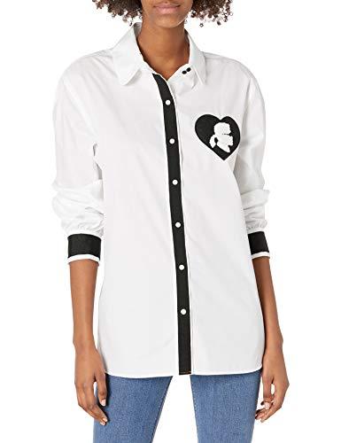 KARL LAGERFELD Paris Herren GROGAIN & Patch BLS Button Down Hemd, weiß/schwarz, X-Groß