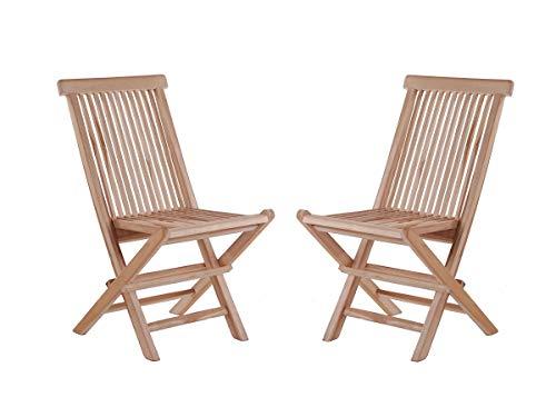 Junado 2er Spar-Set Klappstühle Menorca, Teak-Holz, Gartenstuhl klappbar, für Balkon, Terrasse oder Garten braun