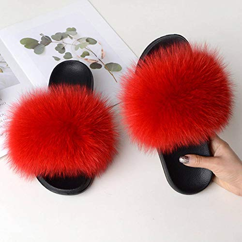 Women Summer Casual Fur Slippers Flat Non-Slip Solid Real Fox Hair Slides Large Size Slippers