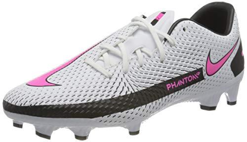 Nike Unisex Phantom GT Academy FG/MG Soccer Shoe, White/Pink Blast-Black-Black, 39 EU