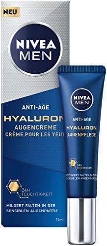 NIVEA MEN Anti-Age Hyaluron Augencreme (15 ml), Augenpflege reduziert Anzeichen von Müdigkeit, Feuchtigkeitscreme mildert Falten im Augenbereich sichtbar