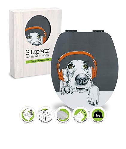 SITZPLATZ® WC-Sitz mit Absenkautomatik, lustiges Hundemotiv DJ Dog, High Gloss Toilettensitz mit Holzkern, ovale O Form, Schnellbefestigung, Metallscharnier, Toilettendeckel witzig, Glanz, 40366 5