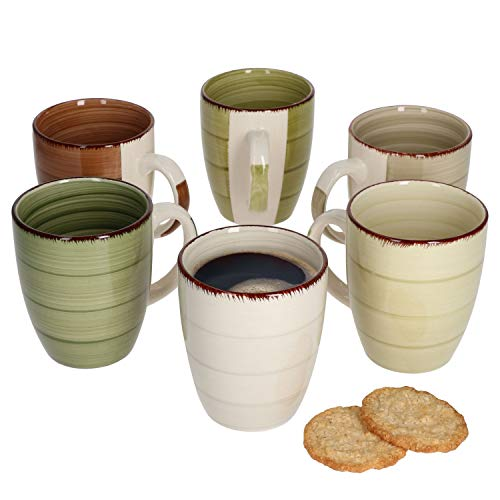 MamboCat Nature Kaffeebecher 300 ml I Kaffeetassen 6er Set im modernen Landhaus-Stil I Steingut-Tasse groß mit rustikaler Optik I Tea & Coffee Mug Set - Kaffee-Tassen 6 Stück in tollen Naturtönen