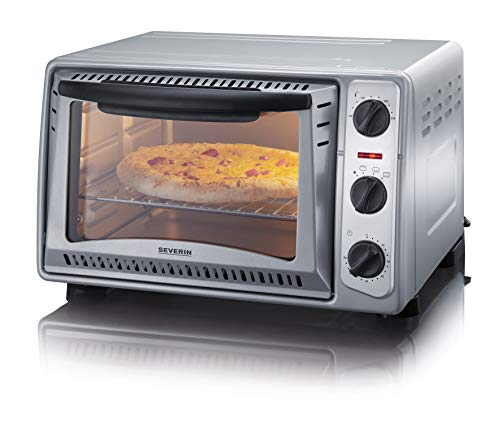 SEVERIN Back- und Toastofen, mobiler Backofen für Pizza, Aufläufe, Kuchen, Brötchen etc., Toaster Ofen mit 1.500 W und Temperaturen von 100 bis 230 °C, silber, TO 2045
