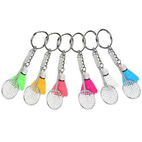 Mini Badminton Schlüsselanhänger, Simulation Sport Schlüsselanhänger Elegantes und charmantes Federball- und Battledore-Modell für Taschen- / Beuteldekoration für Familien, Freunde, Spieler