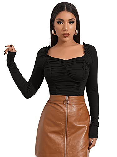 DIDK Damen Crop Langarm Shirts Rüschen Oberteil Einfarbig Basicshirt Elegant T-Shirt Langarmshirts mit Herzausschnitt Schwarz S
