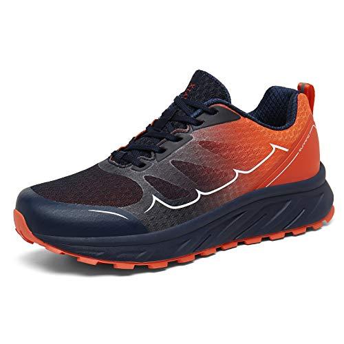 K DUORO Herren Damen Laufschuhe Straßenlaufschuhe Sneaker Leichte Joggingschuhe Turnschuhe Walkingschuhe Traillauf Fitness Schuhe (Blau/Orange, 45 EU, 45)