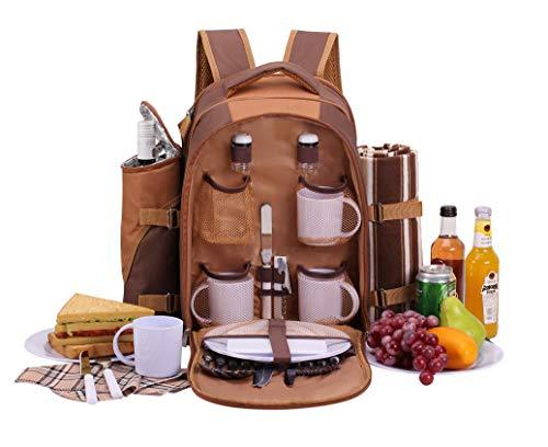 apollo walker 4 Personen Picknick Rucksack Picknick Rucksack Tasche Hamper Cooler Bag mit Geschirr Set & Decke